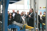 Thomas Kolbusch, vice president of Coatema, explaining the Prepreg production line